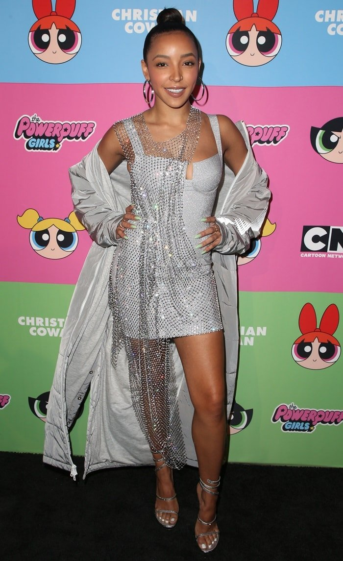 Tinashe paraded her legs at the Christian Cowan x The Powerpuff Girls fashion show held at City Market Social House in Los Angeles on March 8, 2019