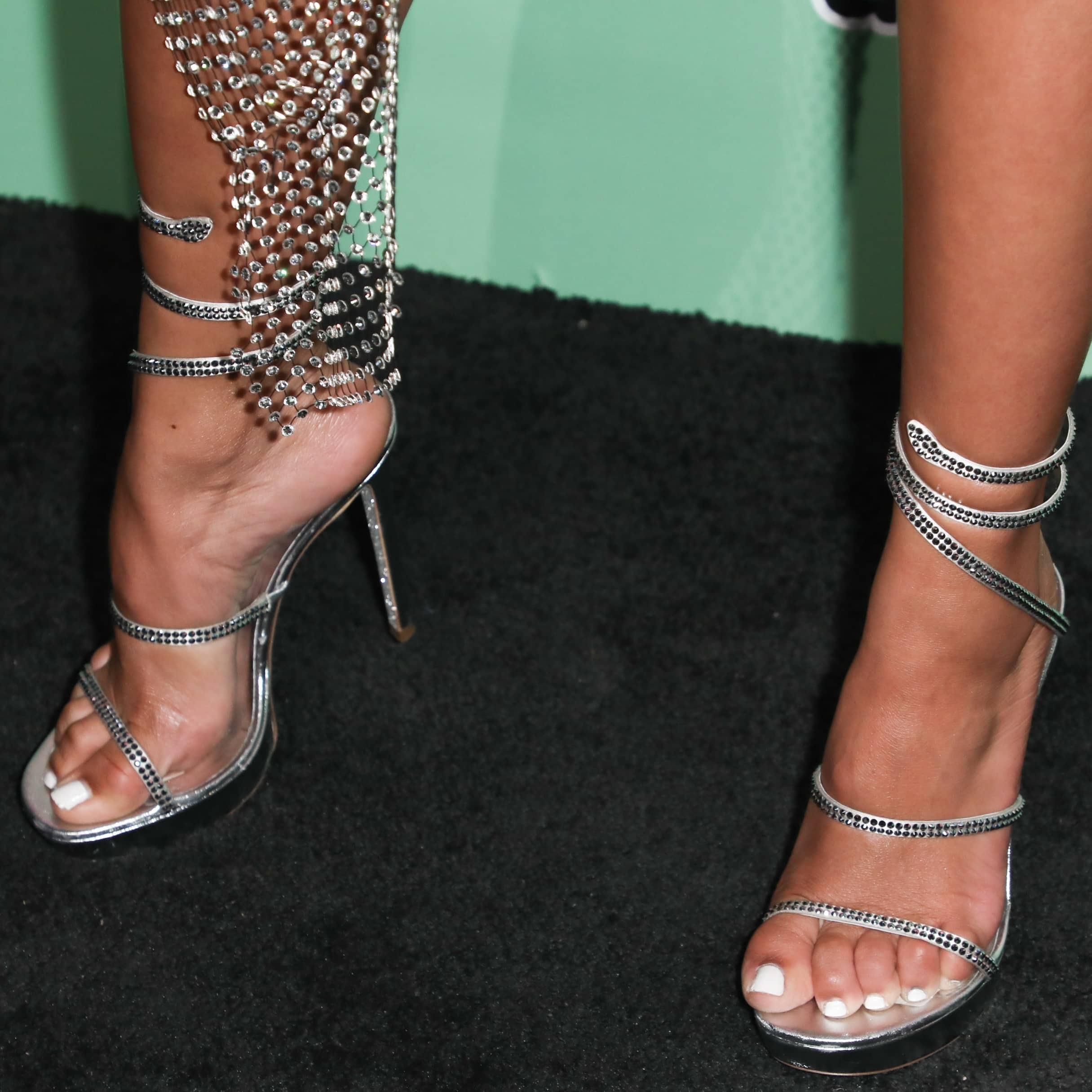 Tinashe's sexy feet in René Caovilla Cleo sandals