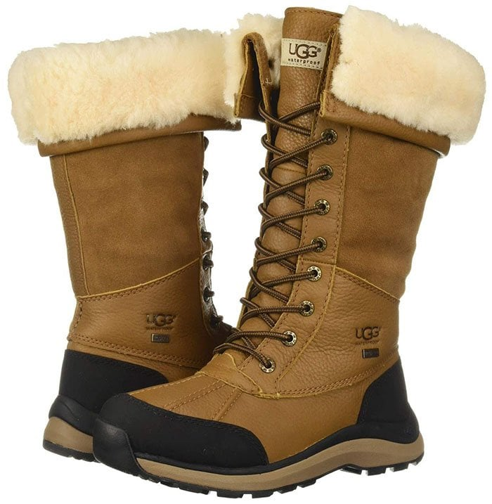 A flexible lace-up boot temperature rated to -25º Fahrenheit features a waterproof leather upper and plush UGGpure lining for cozy comfort
