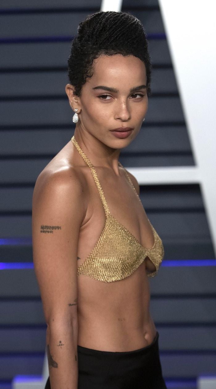 Zoë Kravitz's bejeweled bra is made from 18-karat gold