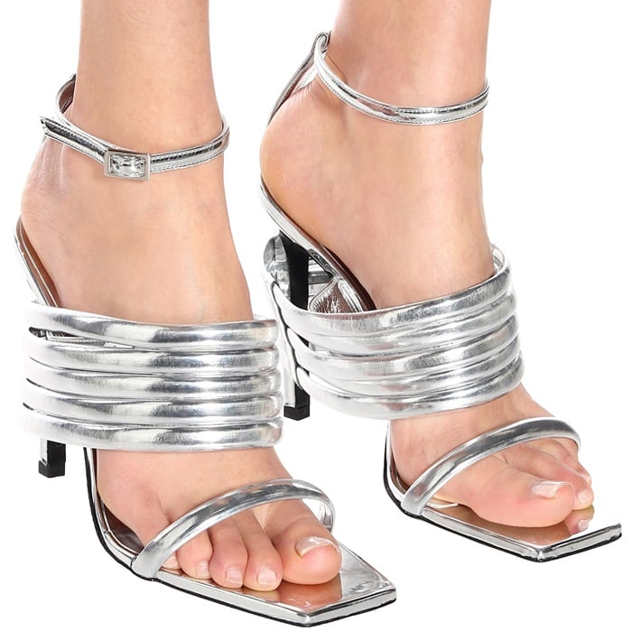 Silver Metallic Tunnel Strap Leather Sandals by Matthew Williams