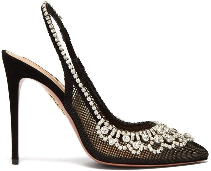 Aquazzura's black mesh Maharani pumps are embroidered with crystal motifs across the point toe and curved vamp – a nod to founder Edgardo Osorio's penchant for high-octane glamour
