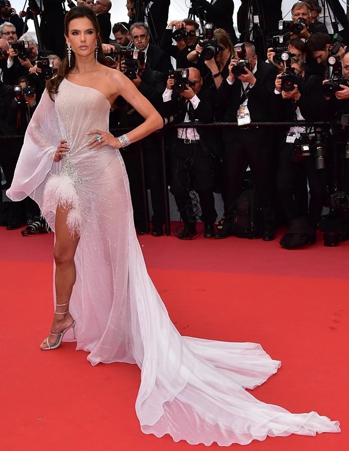 Alessandra Ambrosio wearing a Ralph & Russo dress, Rene Caovilla shoes, and Boucheron jewelry