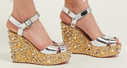 b35548ad4249 Patent Leather and Metallic Cork Almericca Sandals by Louboutin
