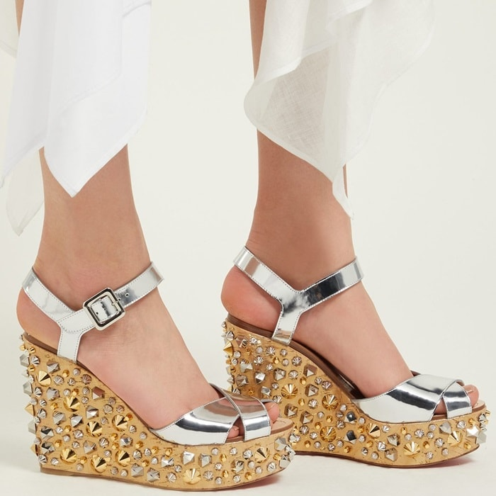 The metallic Almerrica wedge sandals are Christian Louboutin's take on a vacation staple