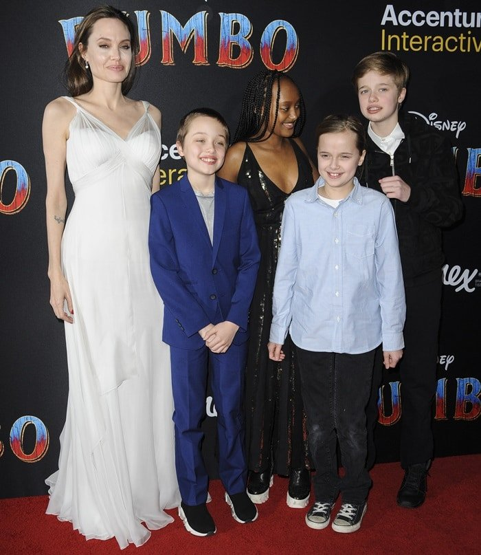 Angelina Jolie with four of her kids on the red carpet at the Dumbo premiere at the El Capitan Theatre in Los Angeles on March 11, 2019