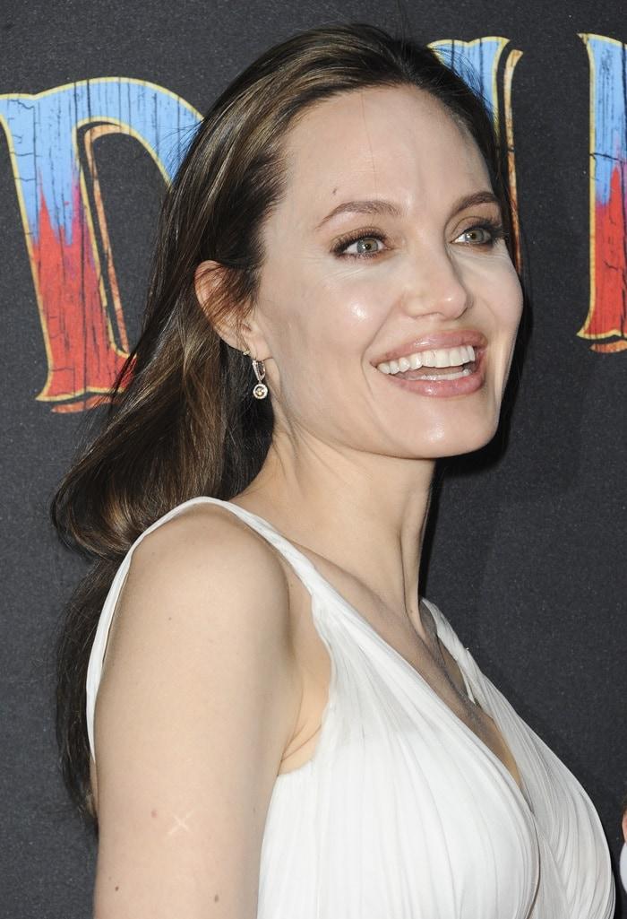 Angelina Jolie's pearl gray silk chiffon Atelier Versace dress