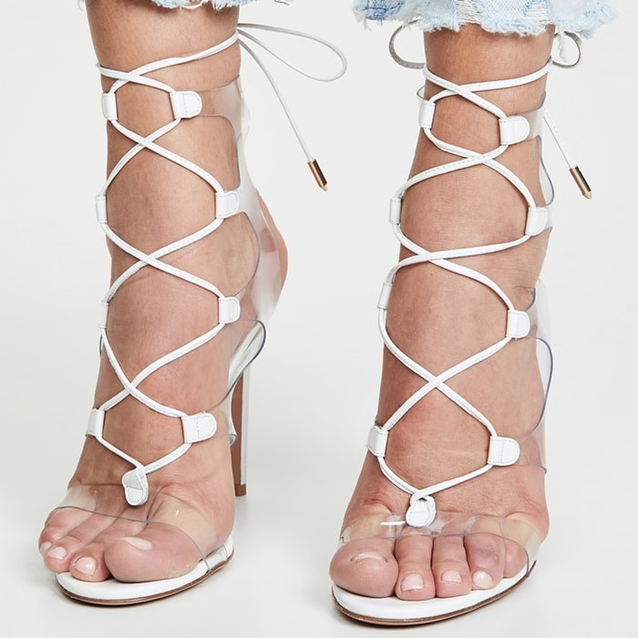 "Aquazzura ""Milos"" sandal in napa leather and clear vinyl"