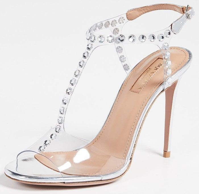 These sparkling Shine 105 sandals underpin Aquazzura creative director Edgardo Osorio's statement-making silhouettes