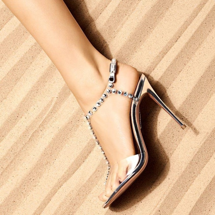 Aquazzura metallic leather and transparent PVC sandals with jeweled studs