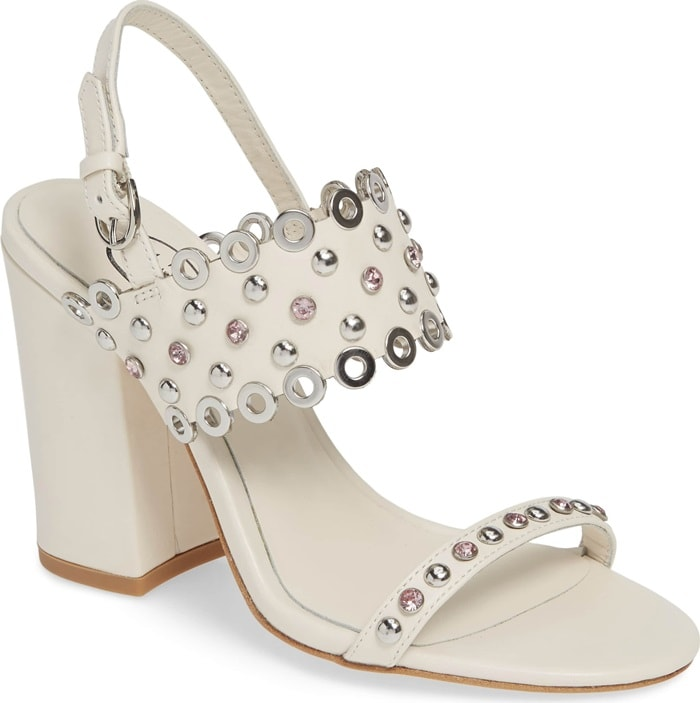 White Lucy Studded Quarter Strap Sandals