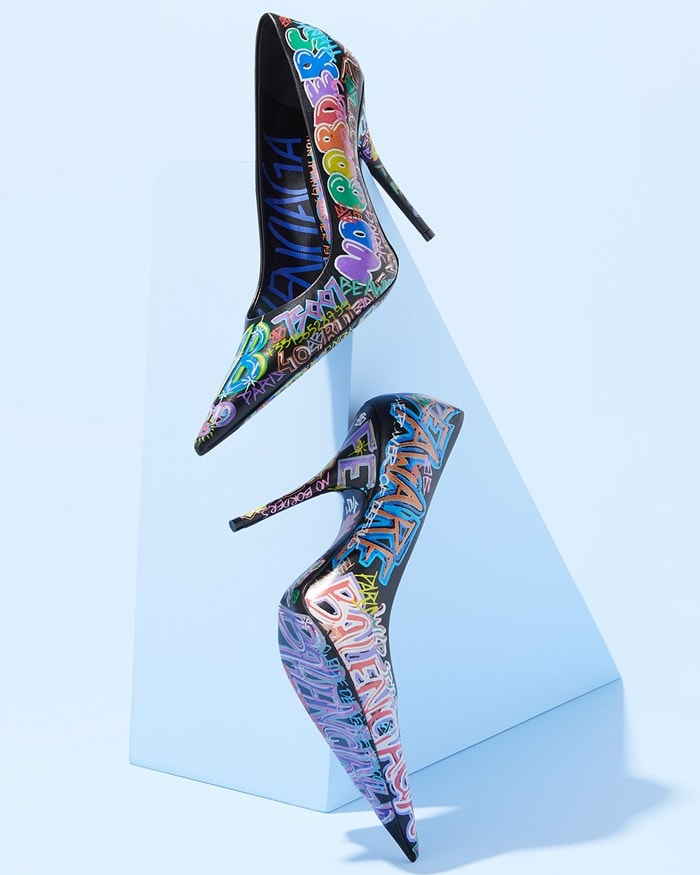 From the upper to the lining and outsole, these Balenciaga pumps are covered top-to-toe in a graffiti print