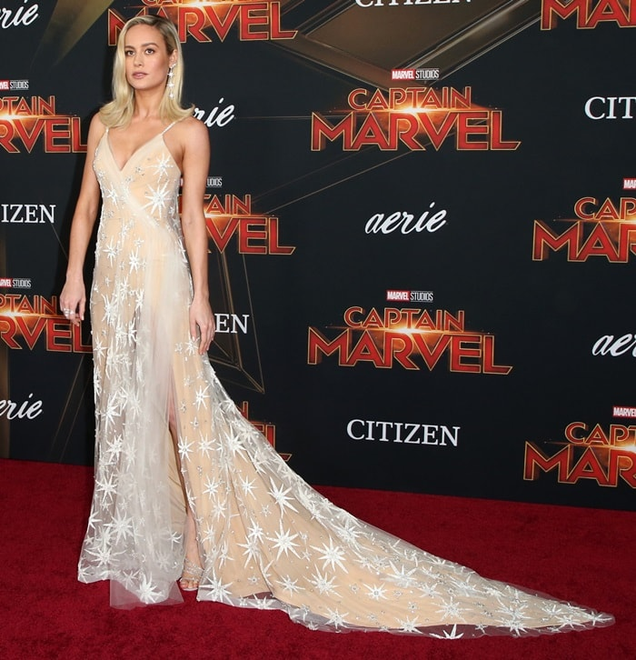 Brie Larson attends Marvel Studios 'Captain Marvel' Premiere on March 04, 2019 in Hollywood, California
