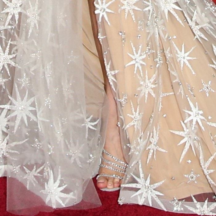 Brie Larson's ugly feet in sparkling sandals