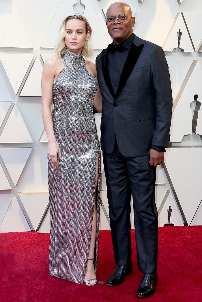 Brie Larson posed with her Captain Marvel co-star Samuel L. Jackson on the red carpet at the 2019 Academy Awards at the Dolby Theatre in Los Angeles on February 24, 2019