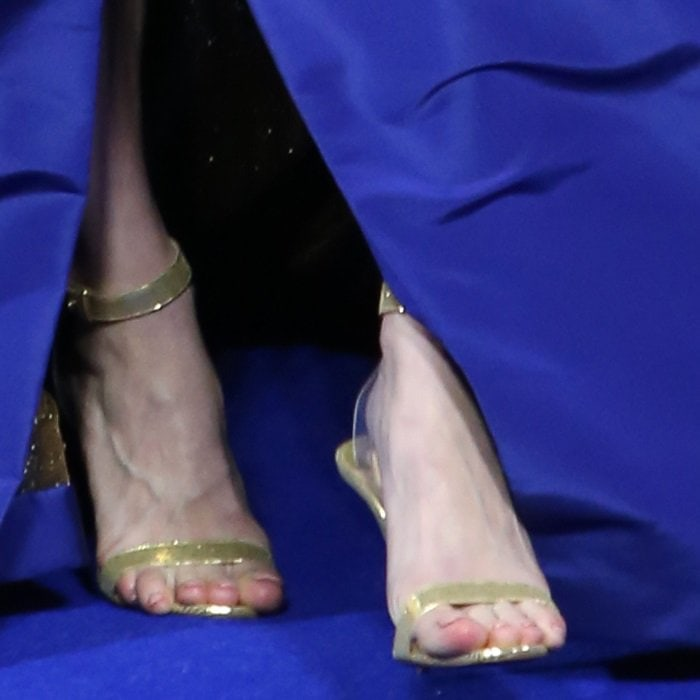 Brie Larson's busted feet in Christian Louboutin sandals