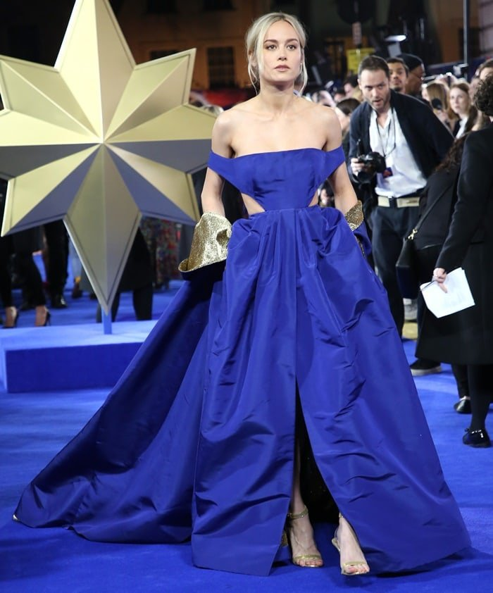 Brie Larson's voluminous cobalt silk faille dress and cape that was designed for her by Creative Director Pierpaolo Piccioli