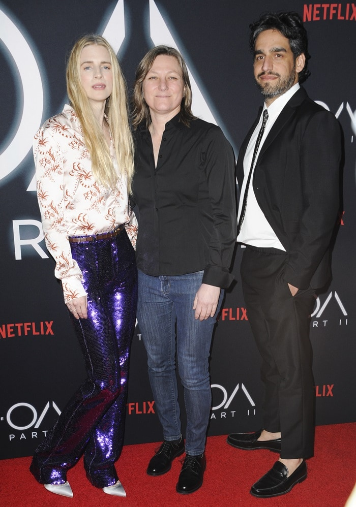 Brit Marling, Cindy Holland, and Zal Batmanglij at the premiere of the second season of their hit show