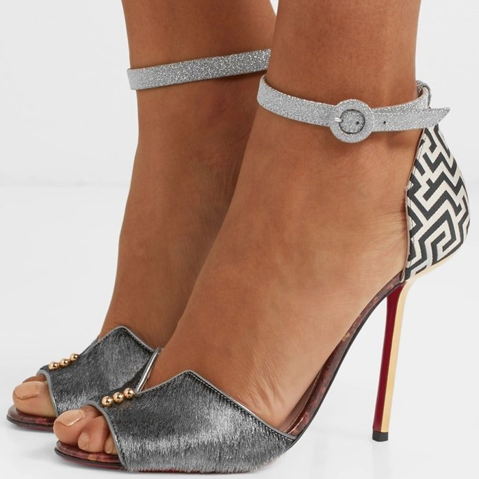 A bold update on the brand's 'Notte Bella' style, these peep-toe sandals have been made in Italy from panels of metallic gray calf hair and graphic black and white jacquard