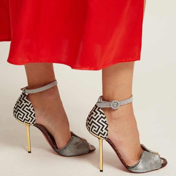 They're offset with a glittered leather ankle strap, contrasting gold mirrored heel and tortoiseshell-effect insole