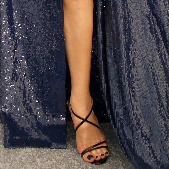 Catherine Zeta-Jones showed off her pretty feet and legs in Christian Louboutin
