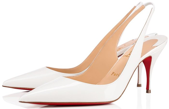 Christian Louboutin's white Clare slingback pumps are simply finished with the label's signature red lacquered sole, inspired by the nail varnish worn by the founder's assistant