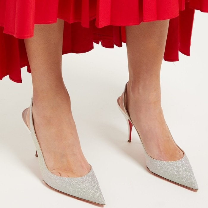 Christian Louboutin's pumps create a striking after-dark demeanour thanks to their silver glitter uppers.