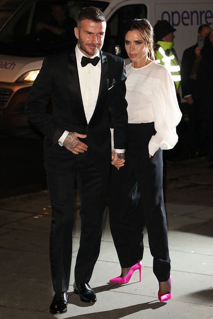 Victoria Beckham arriving with husband David Beckham at The Portrait Gala 2019 held at the National Portrait Gallery in London, England, on March 12, 2019