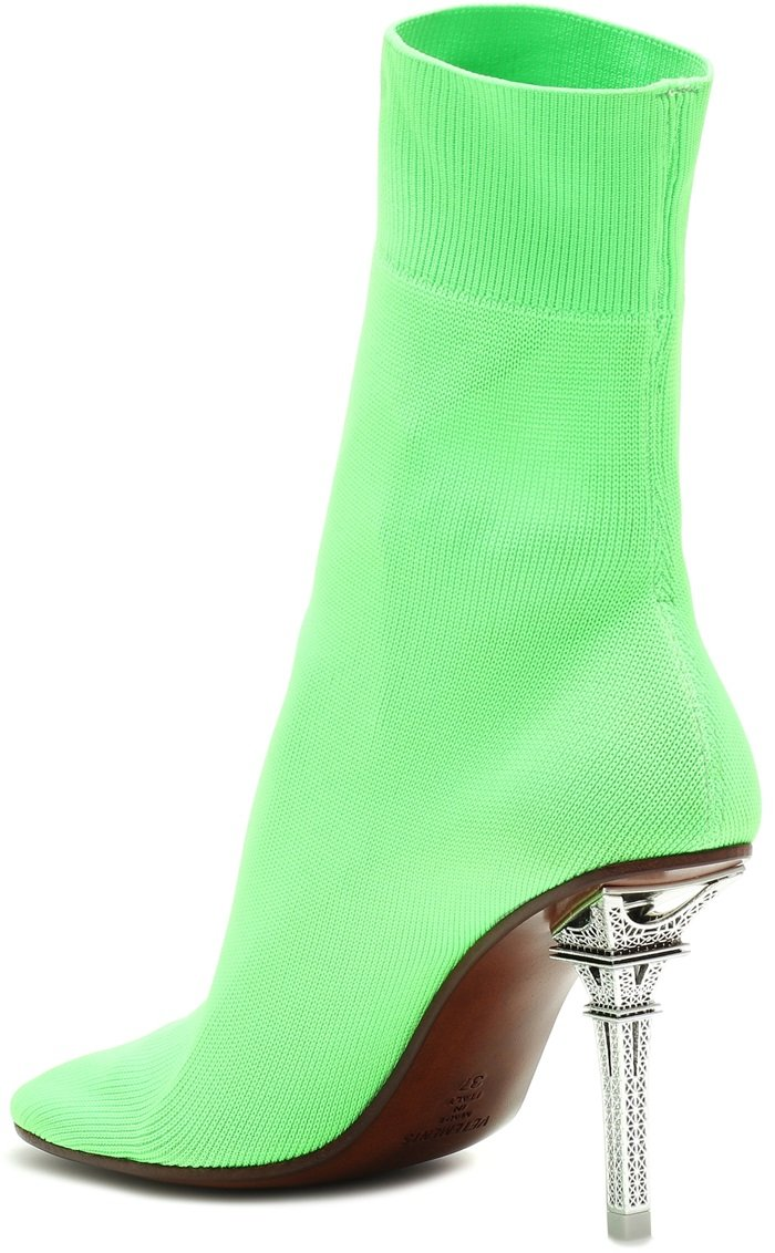 Neon green Eiffel Tower sock ankle boots