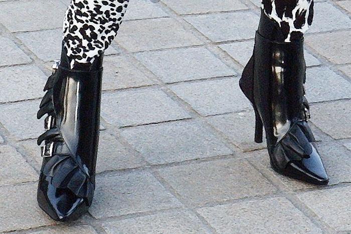 0de7f7d157d3 Emma Roberts  Louis Vuitton Spring 2019  Janet  ankle boots featuring  ruffles