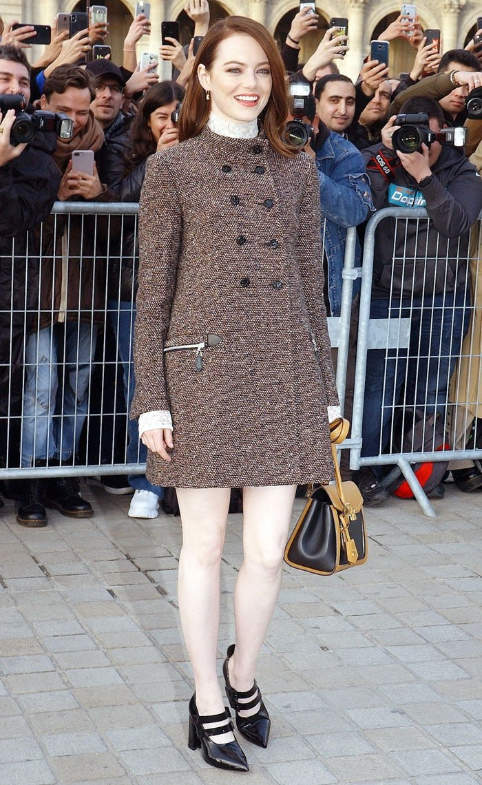 e0f570c89c3f Emma Stone arriving at Louis Vuitton show held during Paris Fashion Week  Fall Winter 2019