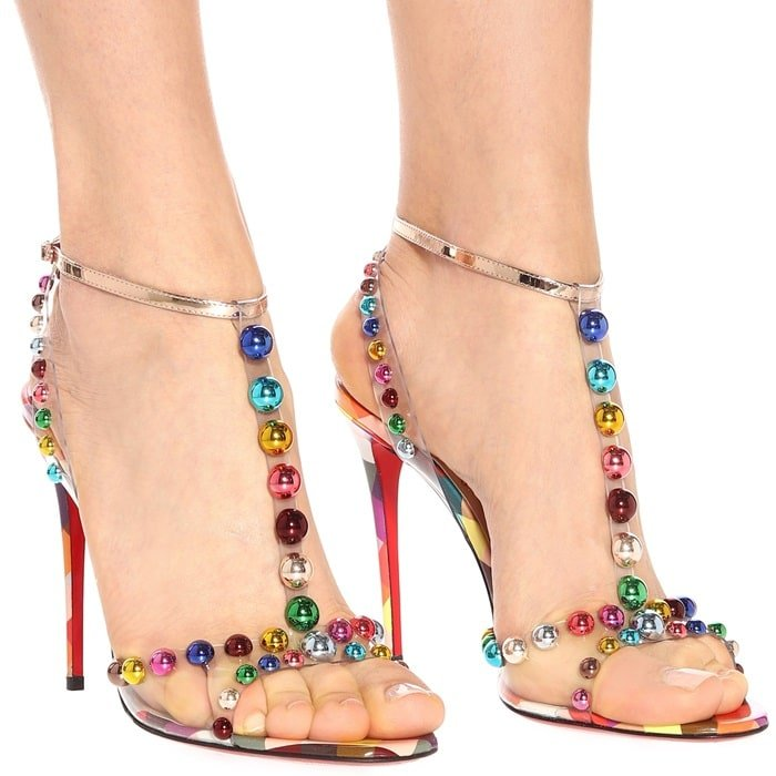 Christian Louboutin's multicoloured checked leather Faridaravie sandals reflect the iconic label's inherent glamour