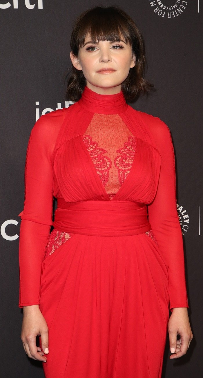 Ginnifer Goodwin's red lace panel jumpsuit