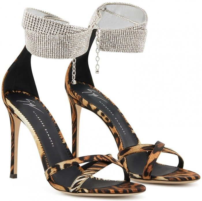 Giuseppe Zanotti silk satin sandals in mixed cheetah and leopard print