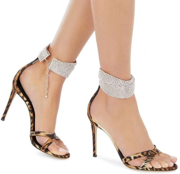 Luxe silk leopard-print criss-cross sandals with an embellished strap