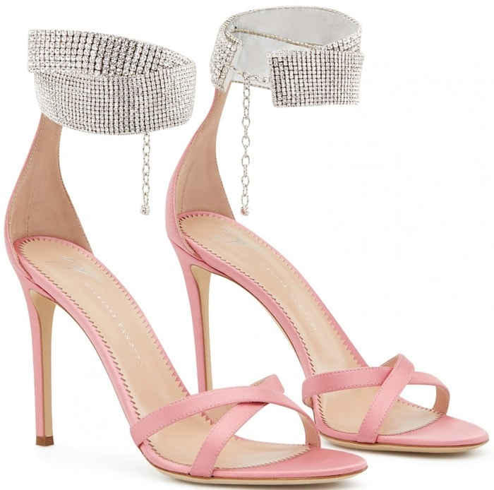 These lipstick pink satin stiletto sandals are adorned with crystal collar around the ankle