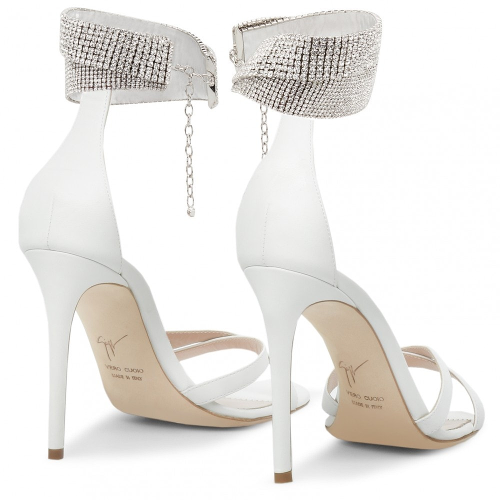 White Nappa Leather Janell Crystal-Embellished Leather Sandals