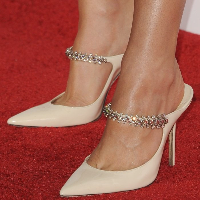 Haley Lu Richardson's toe cleavage in Bing crystal-embellished leather mules