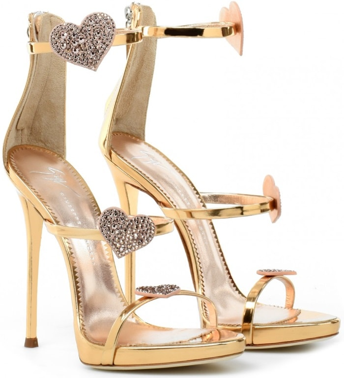 """Crafted from rose gold shooting leather, these sandals are adorned with suede """"Heart"""" crystal embellishments"""