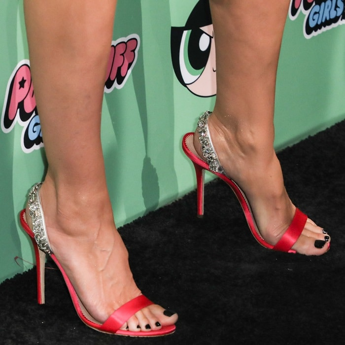 Heidi Klum's Eliza slingback sandals covered in iridescent pearls