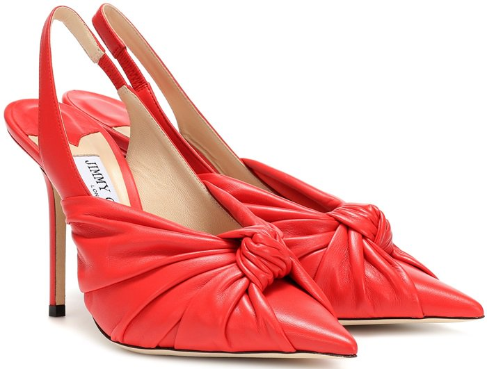 Chili-Red Annabell Leather Slingback Pumps