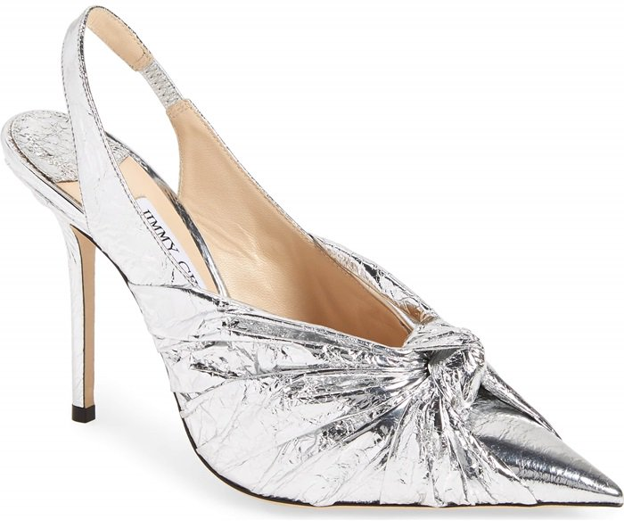 Be prepared to give your girlfriends a major case of shoe envy with this metallic slingback offering a modern twist to a party classic