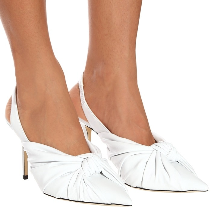 This pair has an artfully knotted front that highlights the pointed toe.