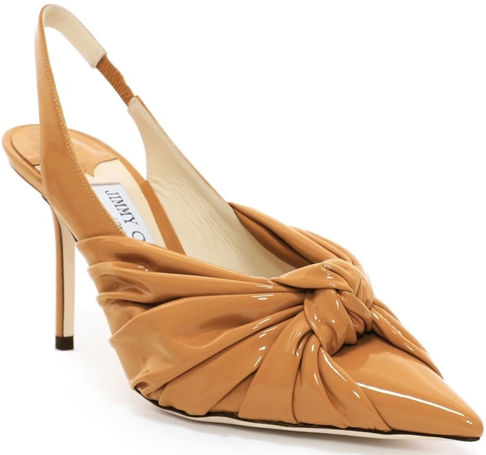 The Annabell 85 sling back closed toe pump in caramel soft patent leather embodies Jimmy Choo fashion to its fullest