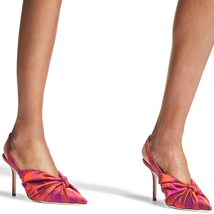 The Annabell 85 sling back closed toe pump in raspberry mix check fabric embodies Jimmy Choo fashion to its fullest