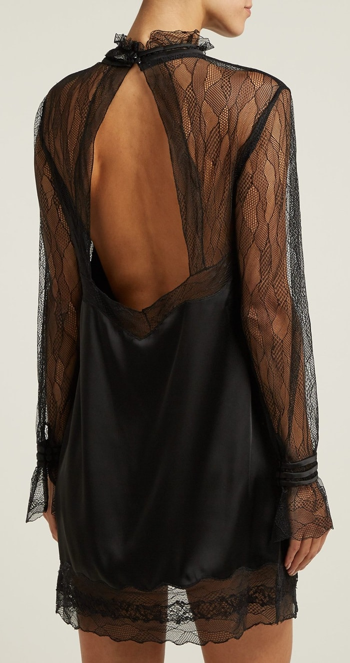Sheer lace adorns the chest and sleeves and borders the ruffled neck and hem, while a cut-out back enhances the sensual appeal