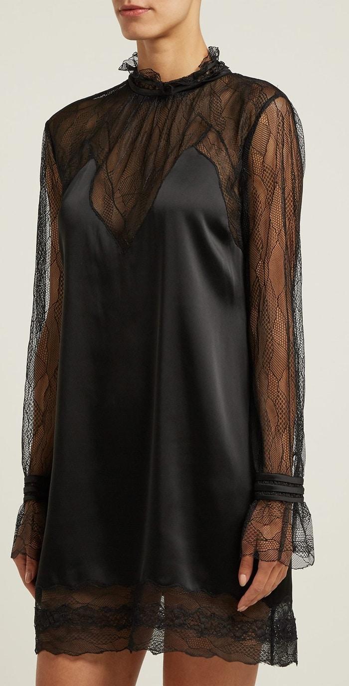 Jonathan Simkhai's feminine aesthetic is apparent in this black satin mini dress