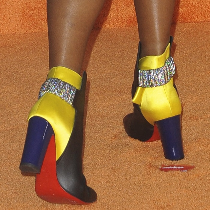 Janelle Monae's glittering black and yellow ankle boots from Christian Louboutin
