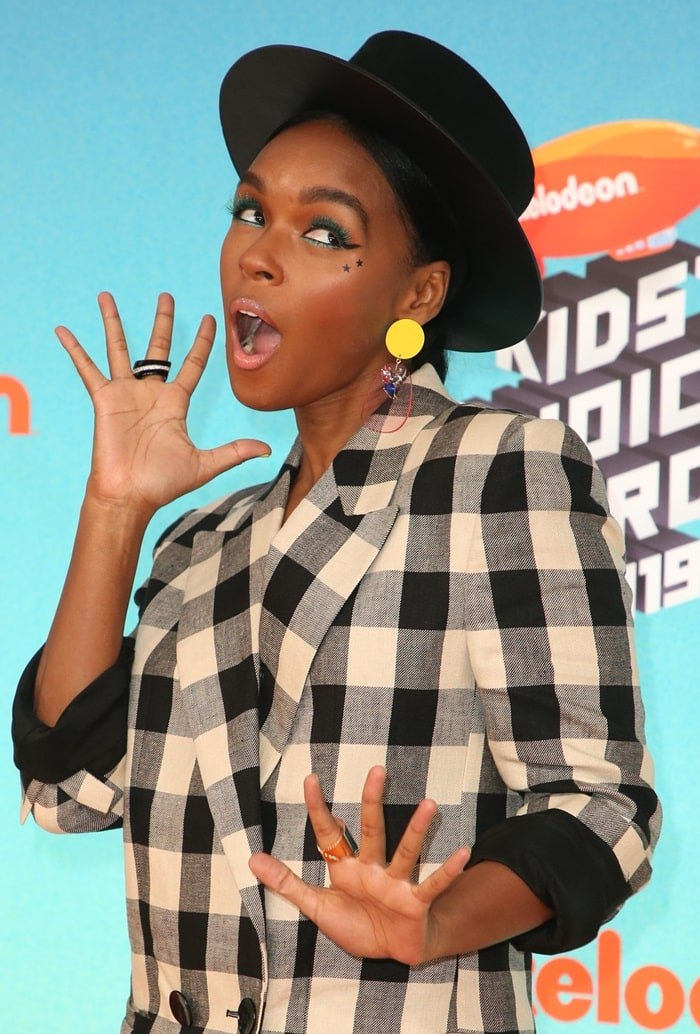 Janelle Monae's wide-brimmed leather hat by YVY