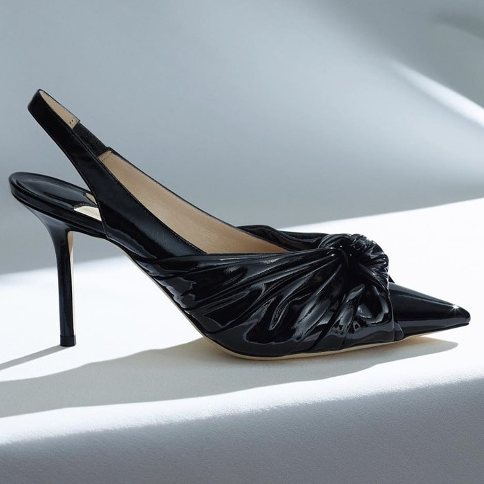 Black Annabell 85 Leather Slingback Pumps